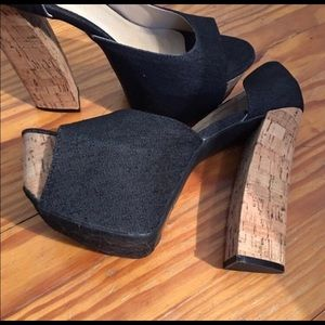 Shoes - Denim cork platform heels